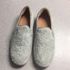 Ugg slip on fuzzy shoes